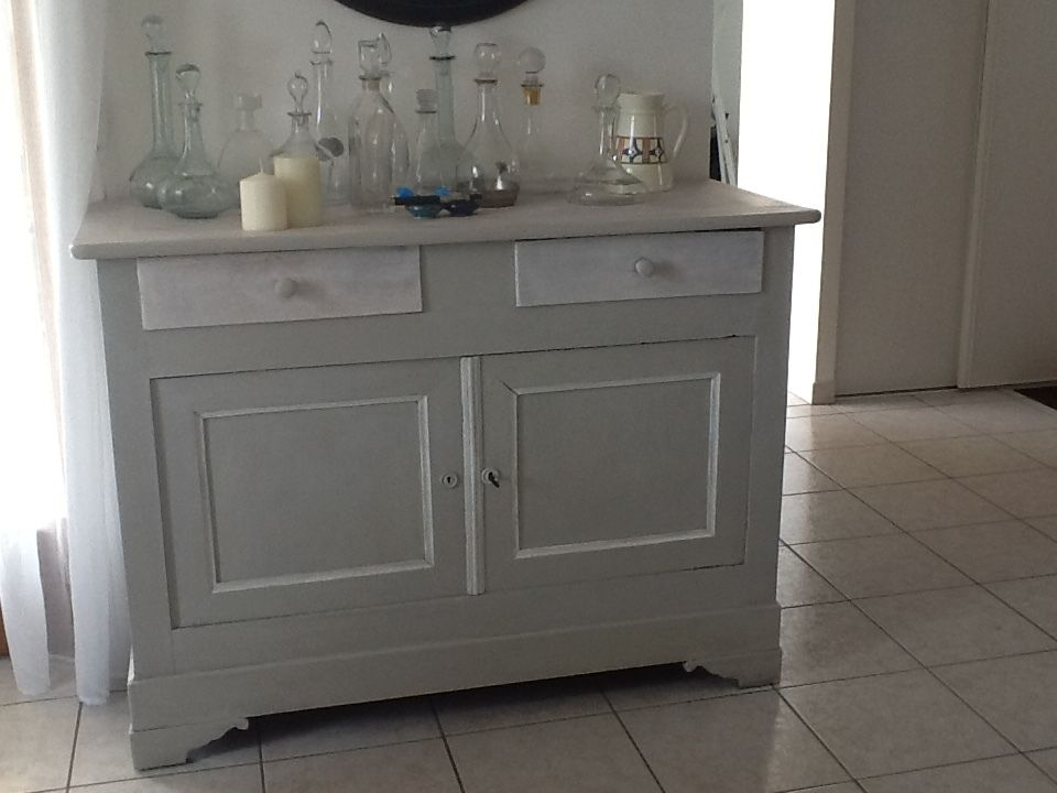 Buffet Portes Noyer Massif Grisblanc Gustavien With