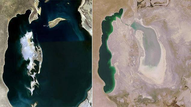 Les images satellites de la mer d'Aral, prises par l'agence spatiale américaine. © Nasa