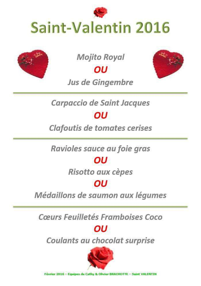 Ides Repas Simple Saint Valentin