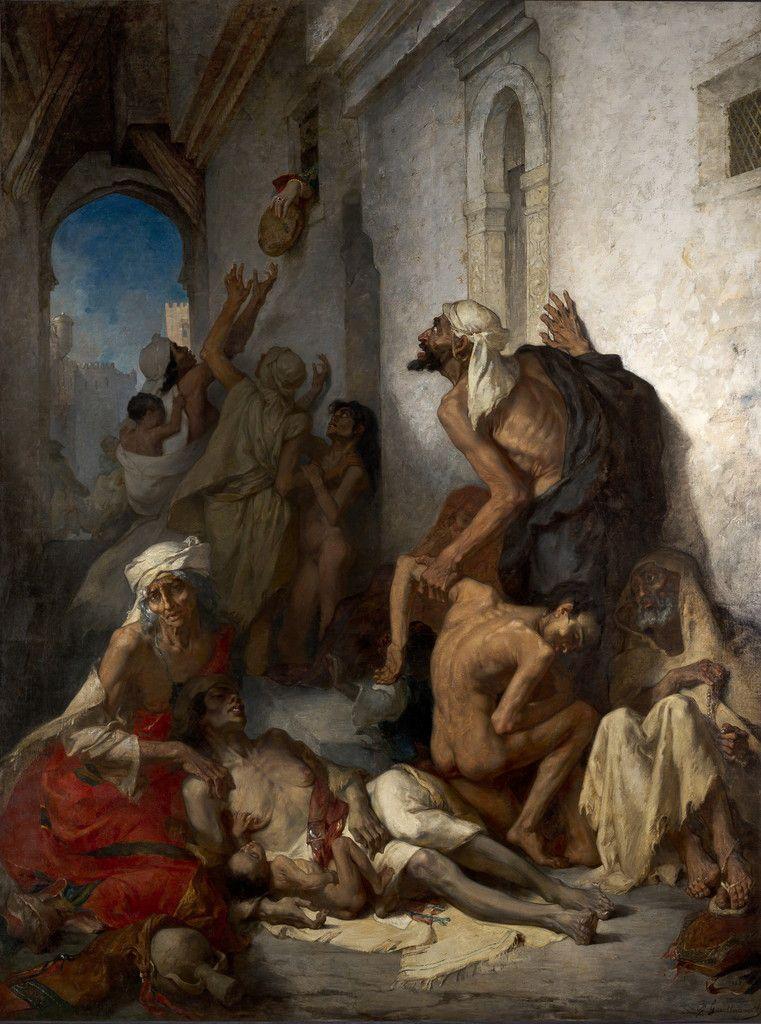 Gustave Guillaumet, La Famine en Algérie, 1868. Huile sur toile. Musée Cirta, Constantine © Max Roy Visuel du tableau après restauration.