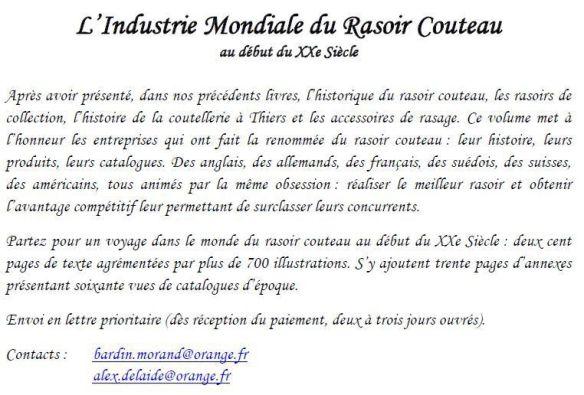 Livre &quot&#x3B;L' industrie mondiale du rasoir couteau &quot&#x3B;