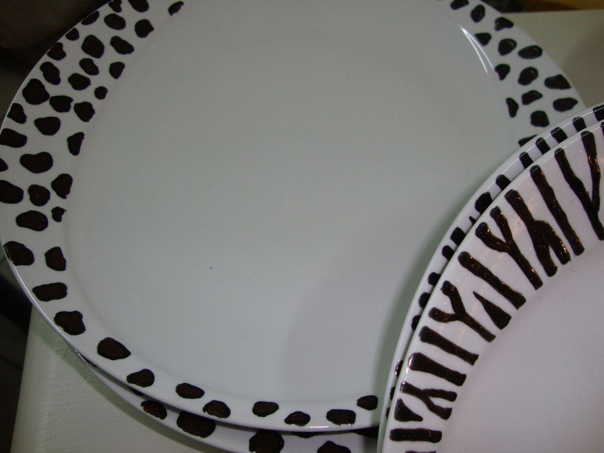 Service De 6 Assiettes Dcor Jungle En Porcelaine