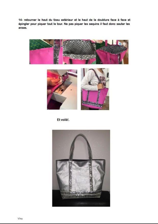 sac cabas à paillettes petit et grand modèle