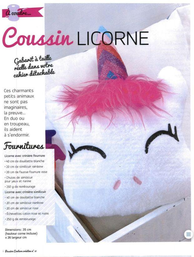 Coussin Licorne - Tuto et Patron