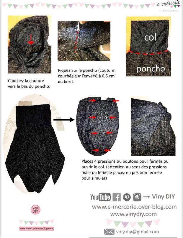 Poncho Carré avec Col - Tuto Couture DIY