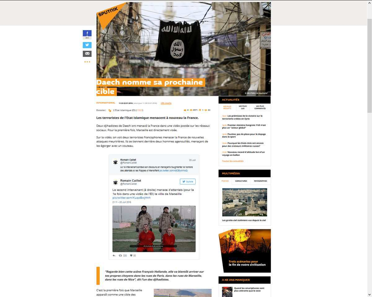 Daech l'Etat islamique cible plusieurs villes françaises