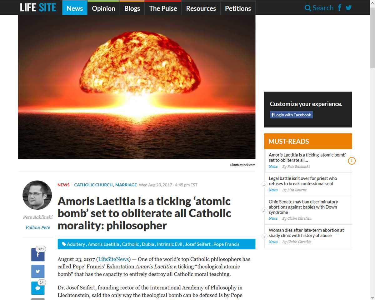 """""""Amoris Laetitia"""": une « bombe atomique » à retardement qui menace l'ensemble de l'enseignement moral catholique (Josef Seifert)"""