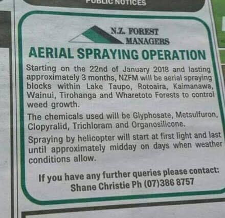 Glyphosate sur les forêts de Nouvelle Zélande