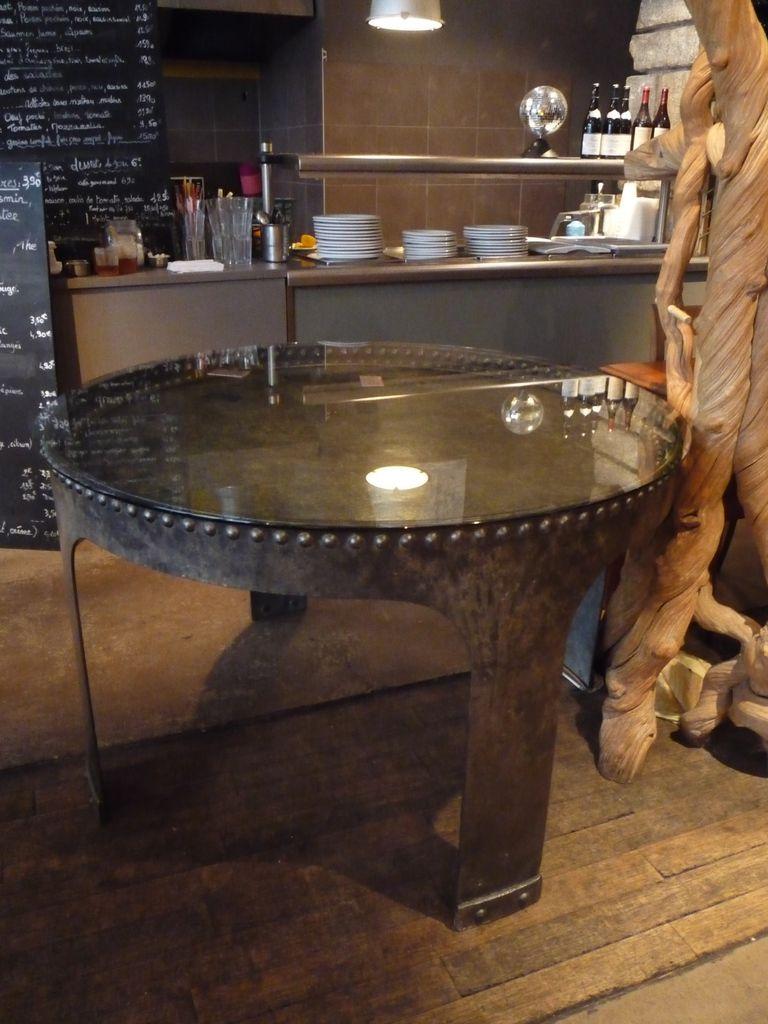 TABLE CUVE RIVETEE INDUSTRIEL ATELIER LOFT 1900 1930 METTETAL INDUSTRY DESIGN INDUSTRIEL DU
