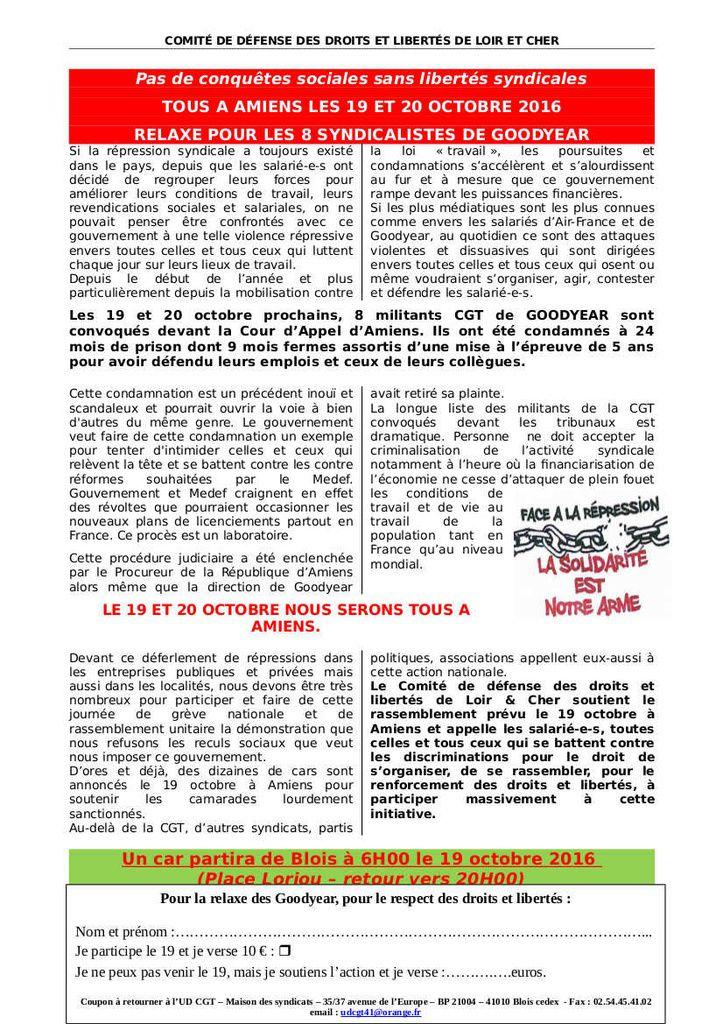 Avec les 8 de GOODYEAR à AMIENS les 19 et 20 octobre - L'initiative se prépare dans tout le pays - L'exemple de Blois