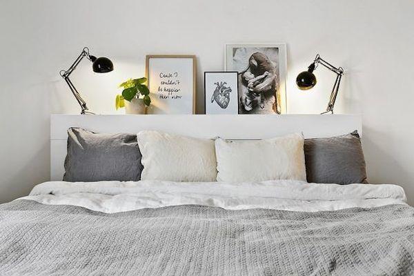 une tete de lit pour poser lampes