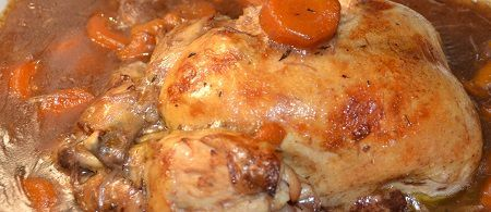 poulet entier au vin rouge recette
