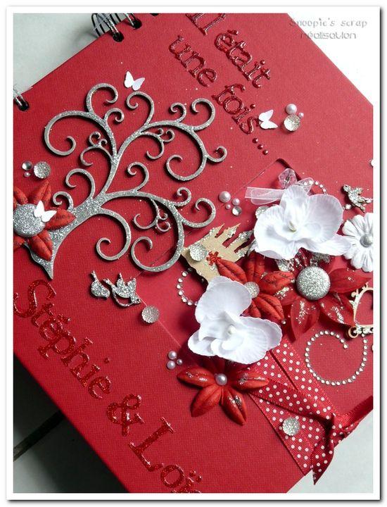 Livre d'or Stéphie & Loïc - rouge, blanc, argenté (et doré) - fil conducteur : Disney, princesse, féérie, romantique