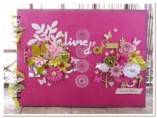 Livre d'or Déborah & Lionel - rose, fuchsia, blanc & vert anis - printemps & fleurs