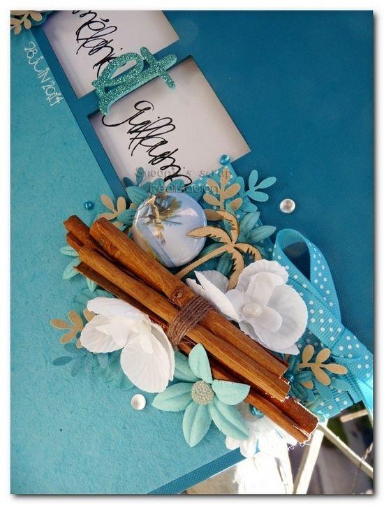 Livre d'or Mélanie & Guillaume - turquoise & blanc - exotique