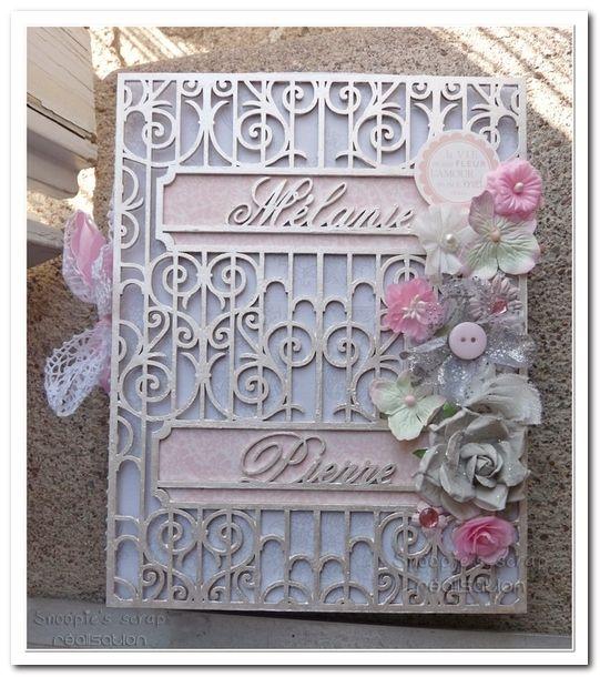 Livre d'or Mélanie & Pierre - Vintage romantique - Rose & gris