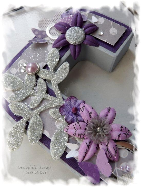 Initiales Cécile & Anousith - parme, violet, argent & blanc