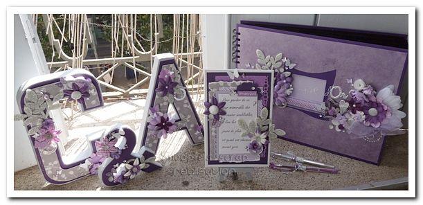 Cadre & stylos - Cécile & Anousith - parme, violet, argent & blanc