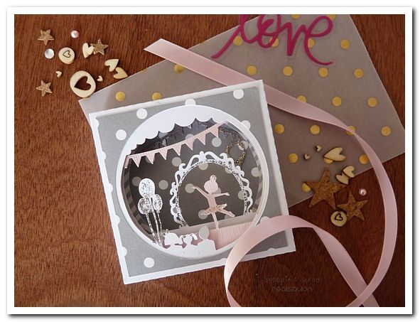 Invitation anniversaire Manon - ballerine, rose & doré, paillettes