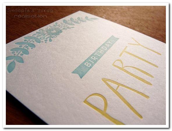Carte Birthday party - invitation anniversaire - Letterpress