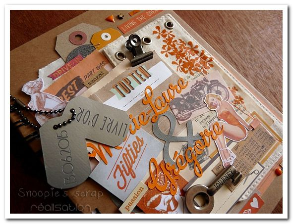 Livre d'or Marie-Laure & Grégoire - années 50 rétro - orange & gris
