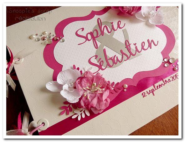 Livre d'or Sophie & Sébastien - fushia & blanc