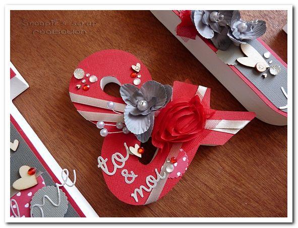 Initiales J & C - Justine & Cédric - mots d'amour - gris & rouge