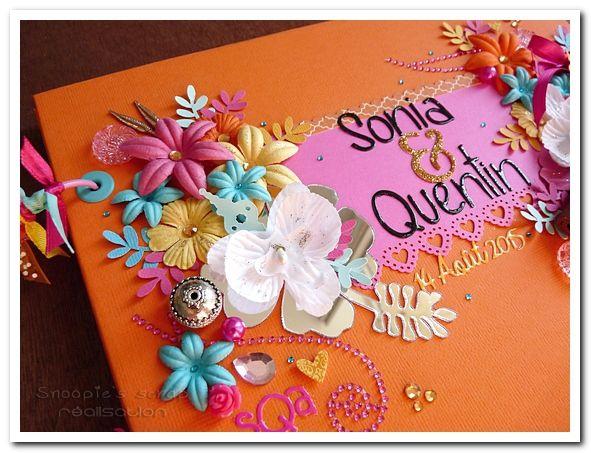 Livre d'or Sonia & Quentin - exotique & oriental - jaune, orange, fushia & turquoise avec touches dorées