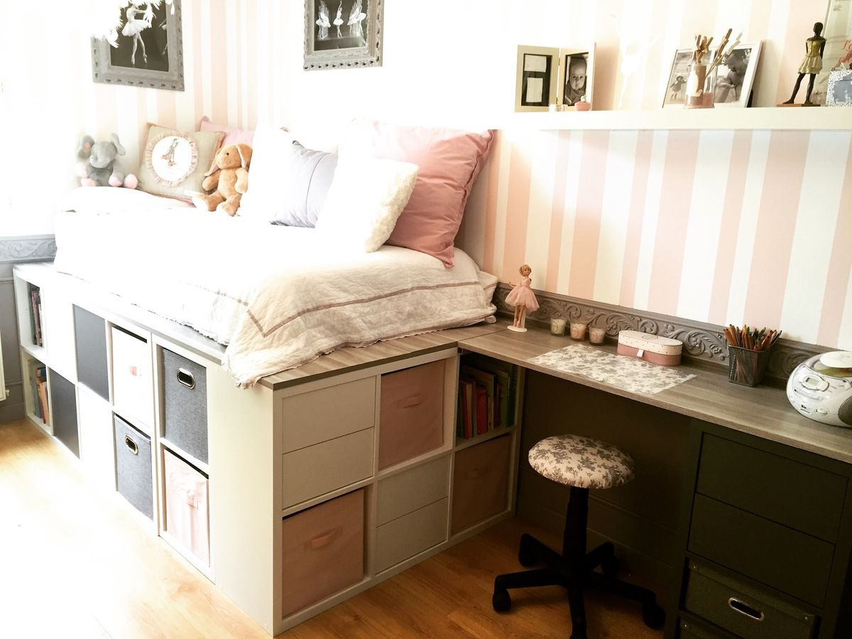 diy un lit dressing gain de place avec des rangements de fille