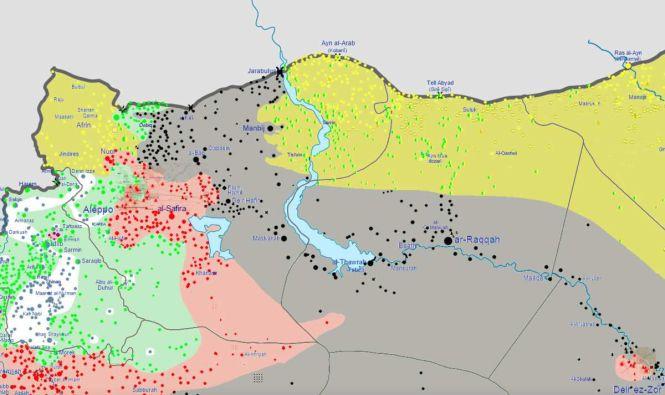 Carte de la Guerre civile syrienne avec notamment les batailles de Manjib (au Nord-Est d'Alep) et de Tabqa (à la pointe Sud du lac Assad).