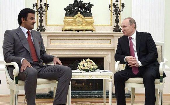 L'émir du Qatar, Tamim ben Hamad Al Thani, et le président de la Fédération de Russie, Vladimir Poutine.