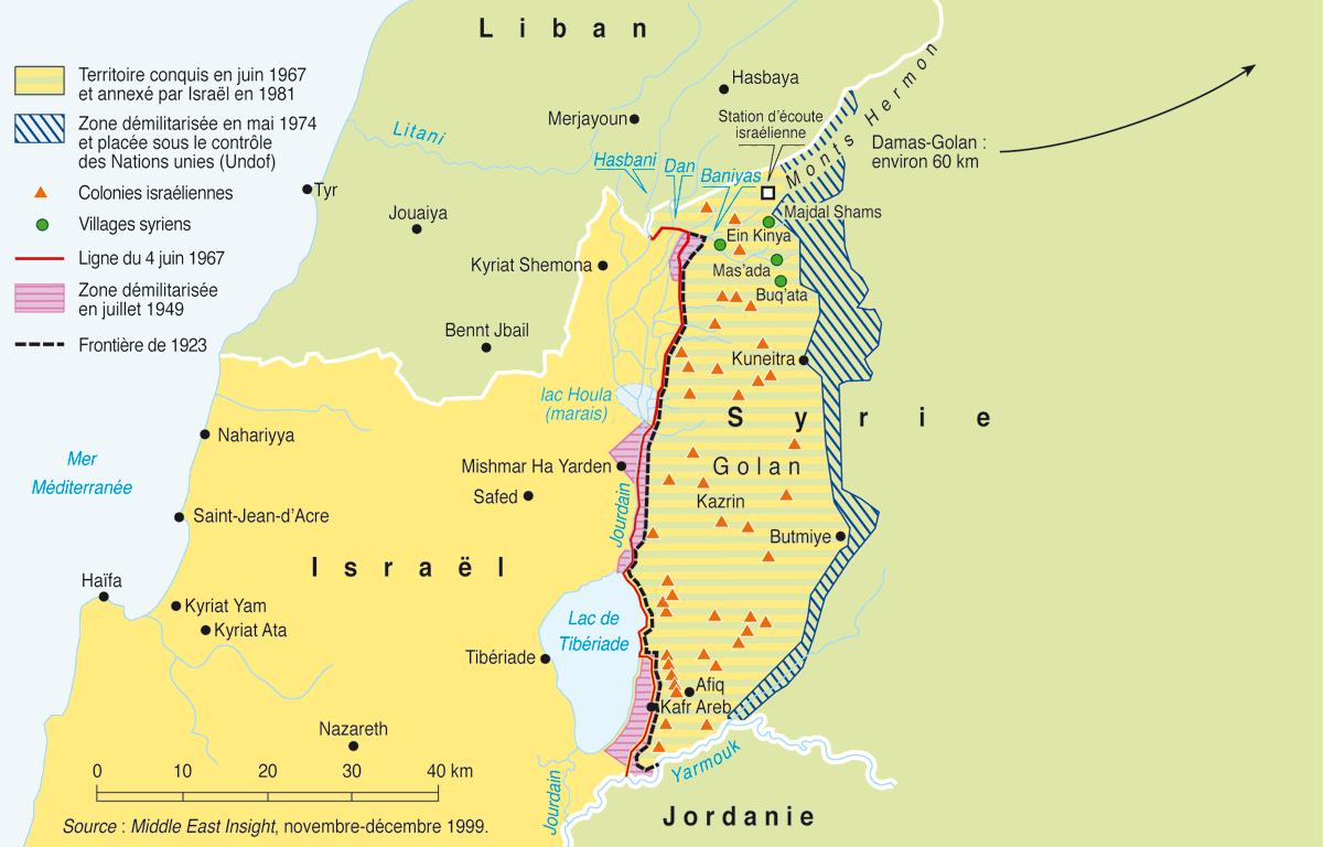 Situation sur le plateau du Golan.