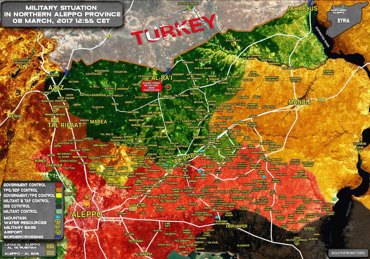 Situation militaire au nord du gouvernorat d'Alep, le 08/03/2017. On voit le gain territorial conséquent obtenu par les forces gouvernementales à l'est d'Alep en deux semaines.