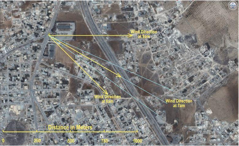 Trajectoire postulé du nuage de sarin depuis l'emplacement présumé de l'attaque.