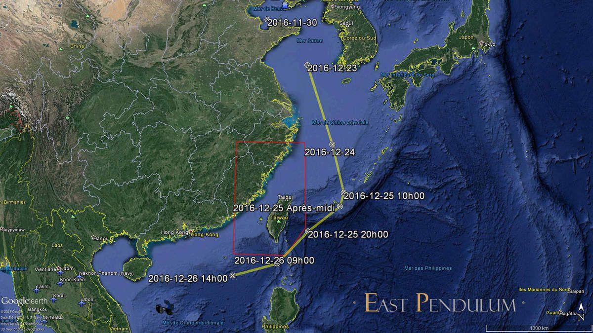 Le parcours du groupe aéronaval Liaoning, en ligne jaune, depuis fin Novembre 2016. Le cadre rouge représente l'ADIZ du Taïwan (Source : East Pendulum)