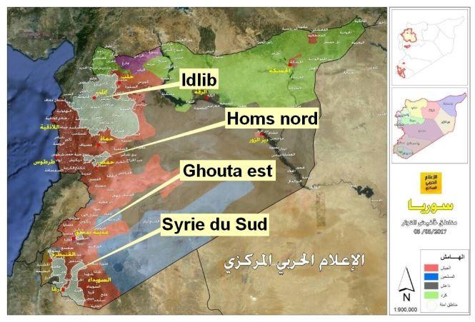 En gris clair : les zones de désescalade du mémorandum contrôlées par les rebelles ; en violet : la zone contrôlée par les rebelles pro-turcs ; en bleu : les zones rebelles non concernées par le mémorandum d'Astana ; en noir : les zones contrôlées par l'Etat islamique ; en vert : les zones contrôlées par les FDS ; en rouge : les zones contrôlées par les forces gouvernementales ; en marron le Golan israélien occupé par Israël et les forces de l'ONU. Al-Masdar News, modifiée.