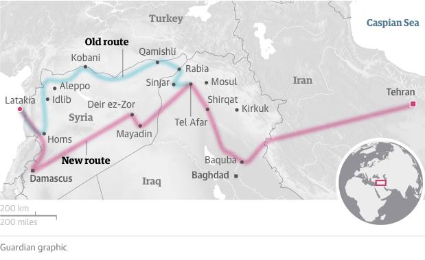 La route terrestre iranienne vers la Méditerranée et ses tracés. Crédits Photo : The Guardian