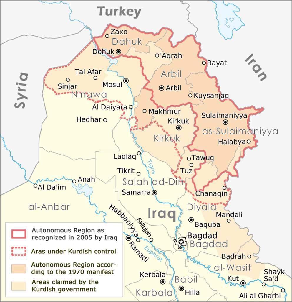 """Les """"territoires disputés"""" entre Bagdad et Erbil en Irak."""