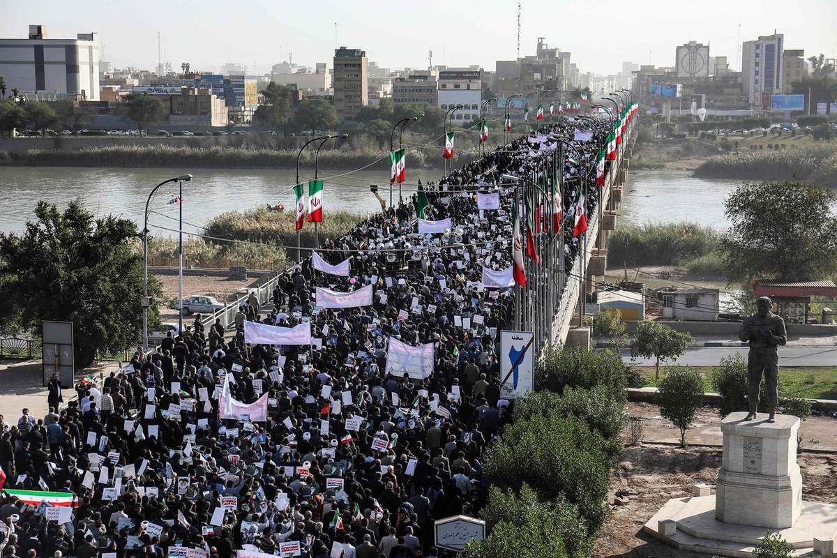 Une manifestation pro-gouvernementale à Ahvaz, en Iran, le 3 janvier 2018. Crédits : Wikimedia.
