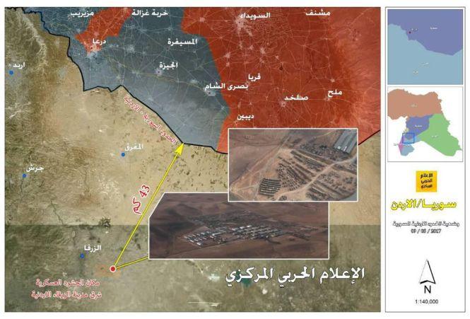 Carte de la base américaine supposée en Jordanie. En bleu : les zones contrôlées par les rebelles ; en rouge : les zones contrôlées par les forces gouvernementales (cliquez pour faire défiler).