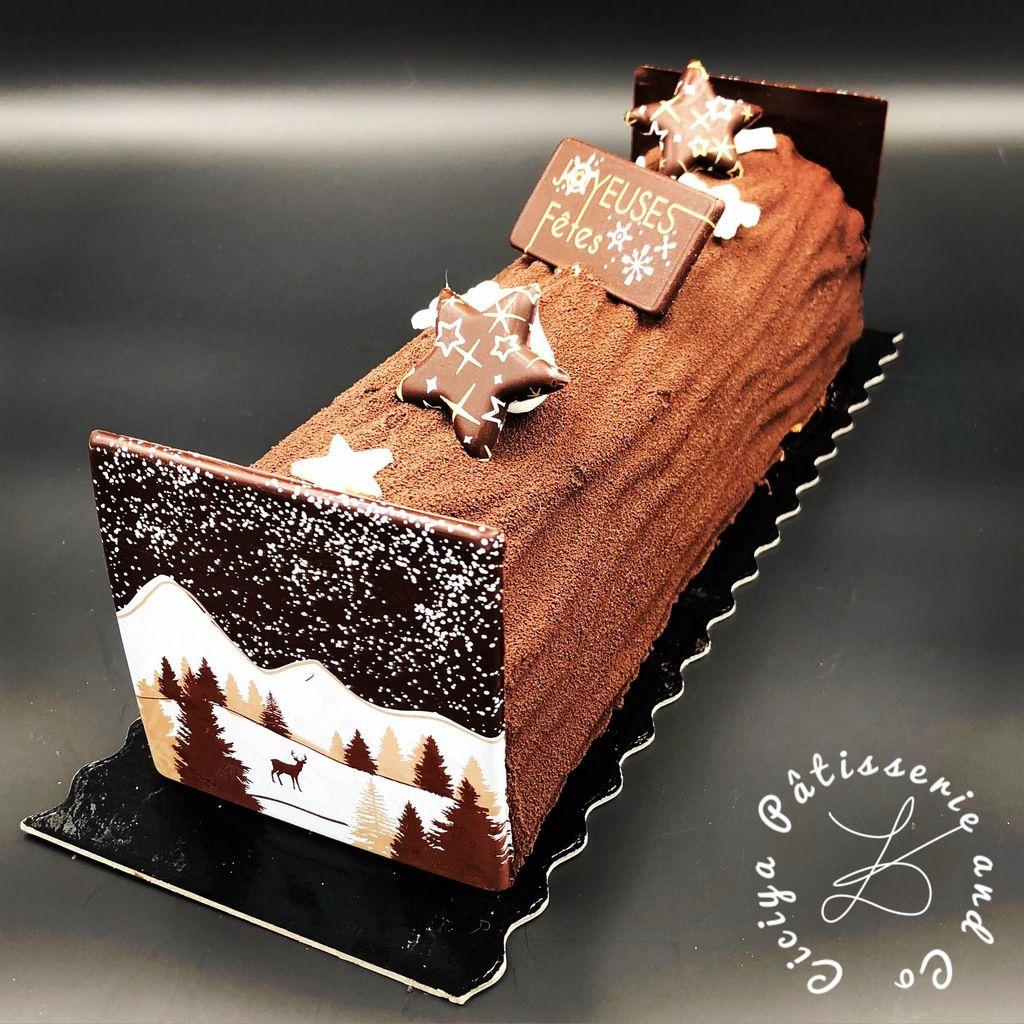 buche 3 chocolats dacquoise noisette et