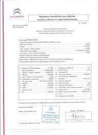 Demande de certificat de conformité CITROEN