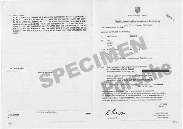 Demande de certificat de conformité Porsche