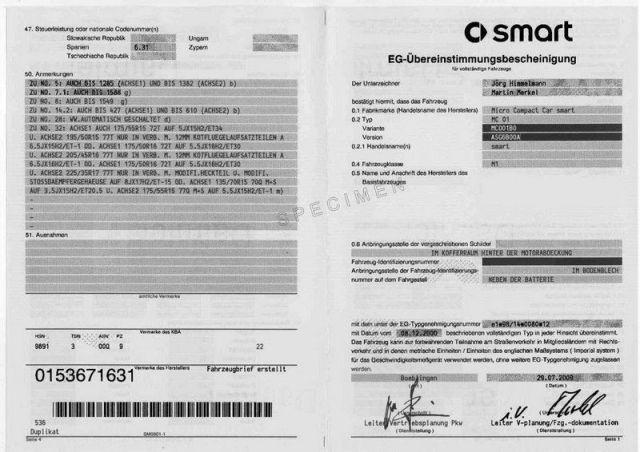Demande de certificat de conformité SMART