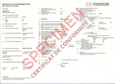 Demande de certificat de conformité Mazda