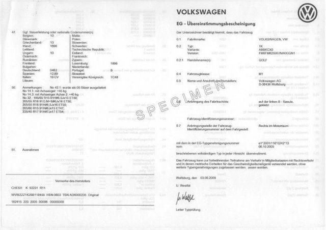 Certificat de Conformité Volkswagen Gratuit sur www.euro-conformite.com