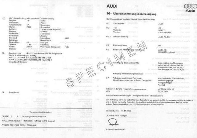 Certificat de Conformité Audi Gratuit sur www.euro-conformite.com