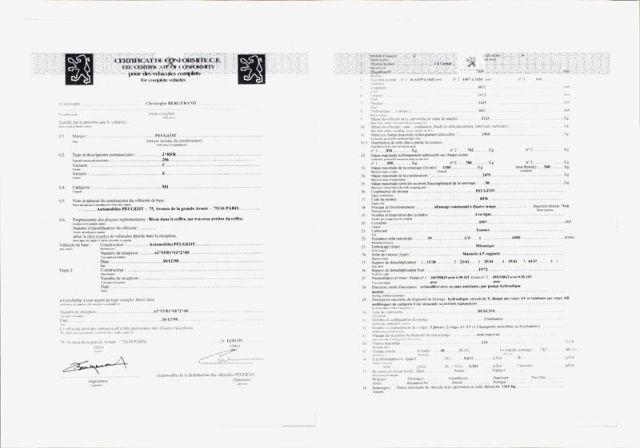 Qu'est-ce le certificat de Conformité Peugeot Gratuit ? Depuis la mise en place du numéro de réception communautaire pour les véhicules européens, le certificat de conformité est une attestation délivrée par la marque constructeur, certifiant que le véhicule à sa sortie d'usine, respecte les normes et les directives européennes ( CE), et donc conforme pour pouvoir être immatriculer et circuler librement sur les territoires Européens. Le certificat de conformité est indispensable lorsque le véhicule est immatriculé pour la première fois en Préfecture françaises ou européennes.
