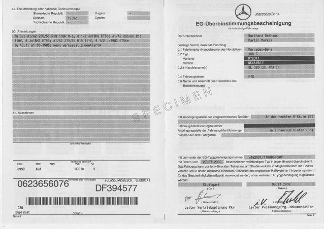 Certificat de Conformité Mercedes Gratuit