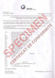 Coc Certificat de conformité Bmw
